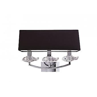 Mantra Akira Wall Lamp Switched 3 Light E14, Polished Chrome With Black Shade
