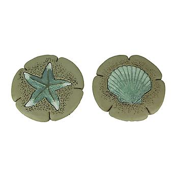 Sand and Sky Starfish and Shell Decorative Stepping Stones or Wall Hangings Set