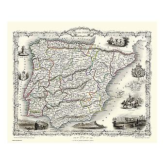 History Portal Spain & Portugal 1851 Map John Tallis 1000 Piece Jigsaw 690mm x 480mm (jg)