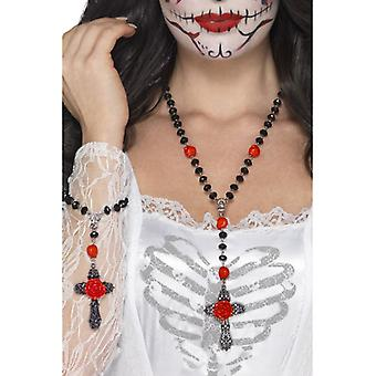 Smiffys Day Of The Dead Rosary Bead Set Black With Necklace & Bracelet