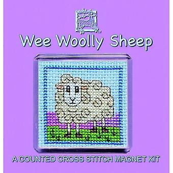 Textiel erfgoed geteld Cross Stitch wee wollige schapen Fridge Magnet