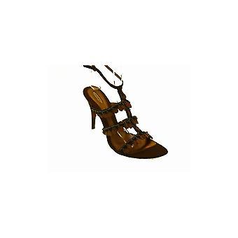 Fluxa bruine hoge hak Beaded strappy sandaal