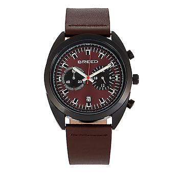 Breed Racer Chronograph Leather-Band Watch w/Date - Black/Maroon