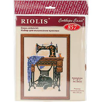 Cat With Sewing Machine Counted Cross Stitch Kit-7.125