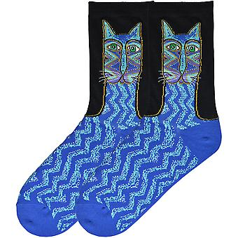 Laurel Burch Socks-Tribal Zig Zag Cat - Blue SOCKS-03BLU