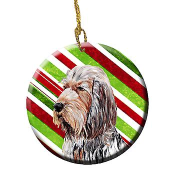 Otterhound Candy Cane Christmas Ceramic Ornament SC9804CO1