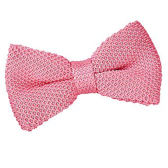 Strawberry Pink Knit Knitted Pre-Tied Bow Tie