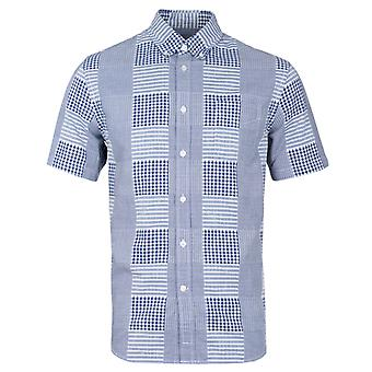 Edwin Blue Patchwork Short Sleeve Shirt