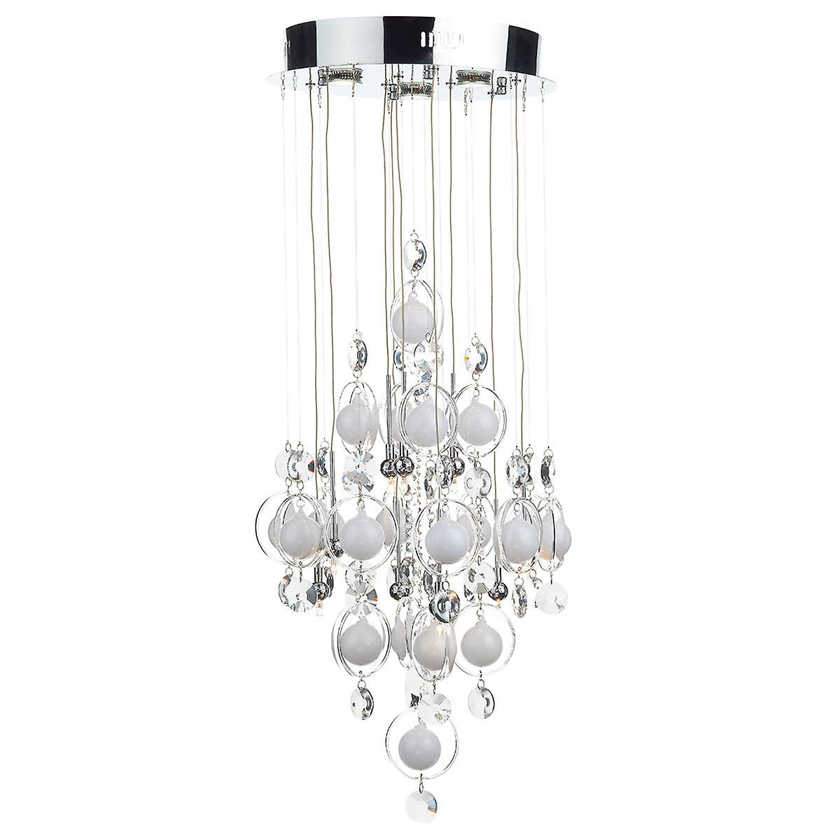 Dar CLO1250 Cloud Modern 12 Light Halogen Crystal Drop Ceiling Pendant