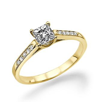 1/2 Carat H SI1 Diamond Engagement Ring 14k Yellow Gold Princess Cut Vintage Ring Promise Ring