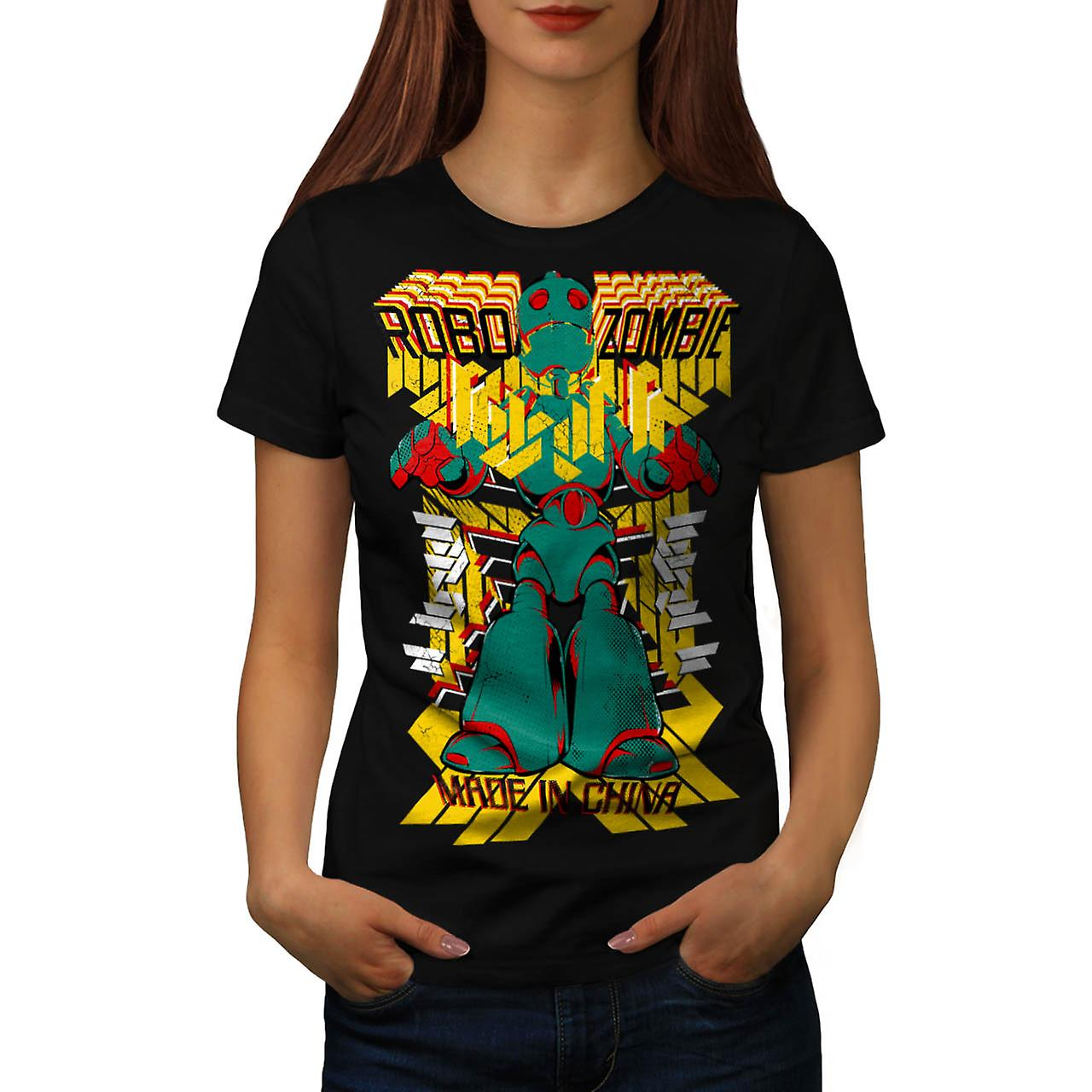 Robot Fashion Cool Zombie Women Black T-shirt | Wellcoda