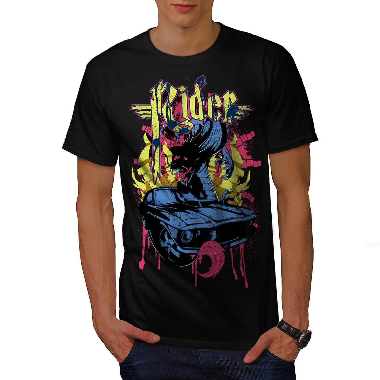 T-shirt nero Dragon Motor Car Ride uomini dell'Automobile | Wellcoda