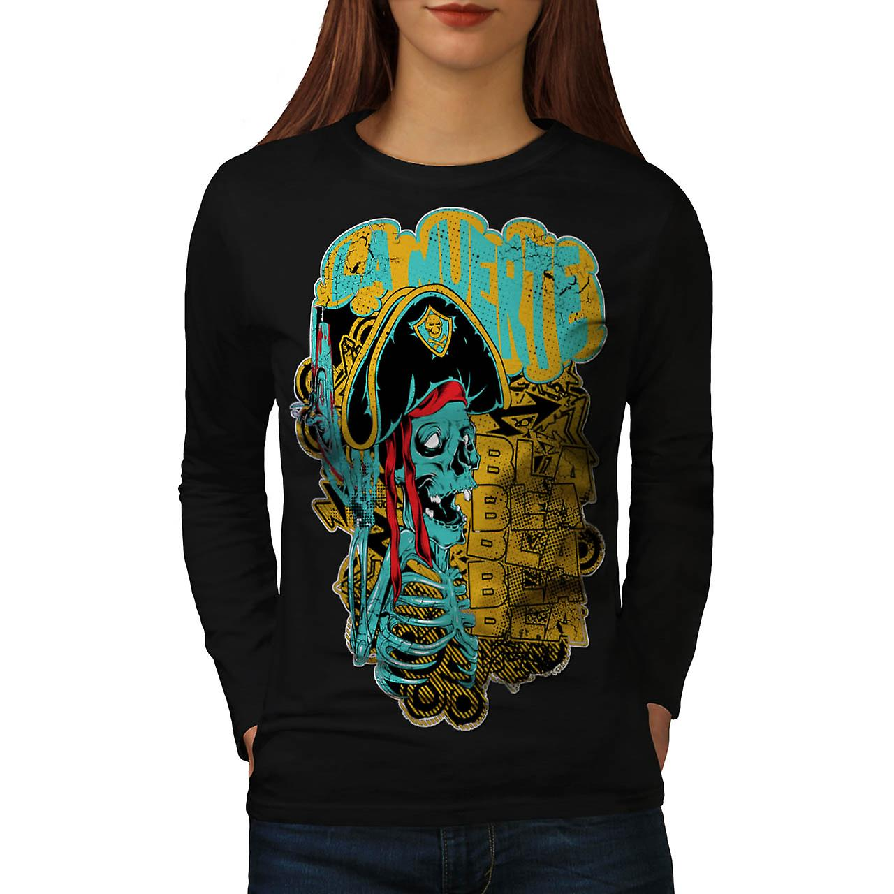 Pirate Skull Ghost Danger Talk femme noire manches longues T-shirt | Wellcoda