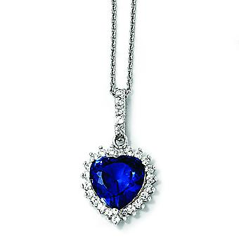 Sterling Silver hjärta syntetisk safir CZ Necklace - 18 tum
