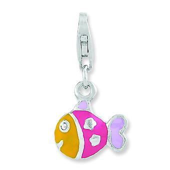Sterling Silver Rhodium-plated 3-d Enameled Fish With Lobster Clasp Charm - 1.8 Grams