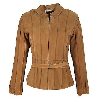 Pianello - suede jacket pleats stripe leather jacket Goatsuede camel