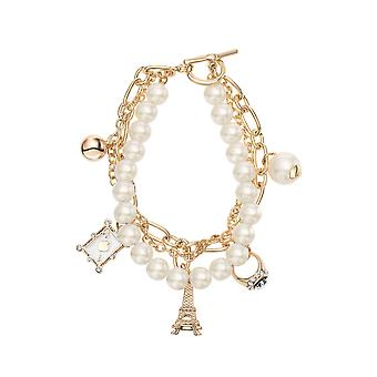 14k Gold Plated Simulated Pearl Chain Charm Bracelet, 21cm