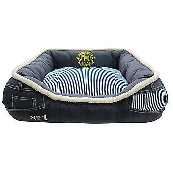 Happy Puppy Denim Striped Bed 68x55x20cm