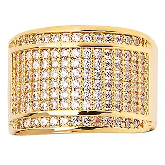 Iced out bling hip hop designer ring - ROUND 15mm gold