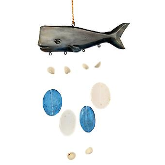 Whale Wind Chimes Christmas Holiday Ornament Wood and Capiz Shells