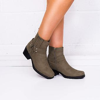 Spylovebuy SPIDER Cowboy Western Block Heel Ankle Boots Shoes - Brown Suede Style
