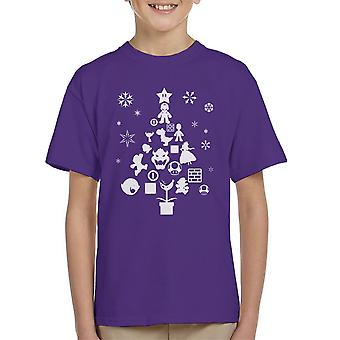 Super Mario Bros Christmas Tree Silhouette White Kid's T-Shirt