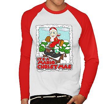 Its A Mario Chirstmas Super Santa Men's Baseball Long Sleeved T-Shirt