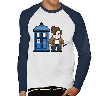Mitesized Doctor Who 11th Matt Smith Tardis Men's Baseball Long Sleeved T-Shirt