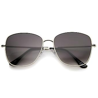 Contemporary Modern Fashion Full Metal Slim Temple Square Sunglasses 57mm