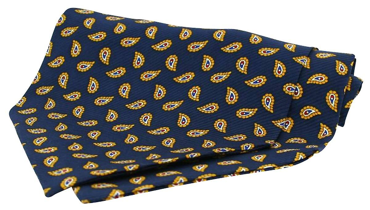 David Van Hagen Twill Silk Self Tie Cravat - Navy