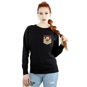 Looney Tunes Women's Tasmanian Devil Face Faux Pocket Sweatshirt