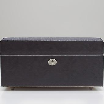 Wolf Designs London Cocoa Lizard Embossed Leather Square Jewellery Box