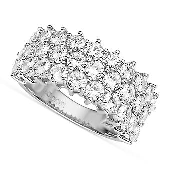 14K White Gold 3,0 mm Moissanite av Charles & Colvard runda tre-rad Band, 3.00cttw DAGG