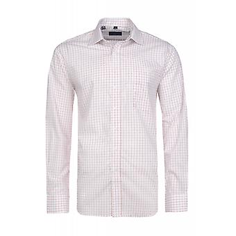DERBY OF SWEDEN shirt mens white spread collar check shirt