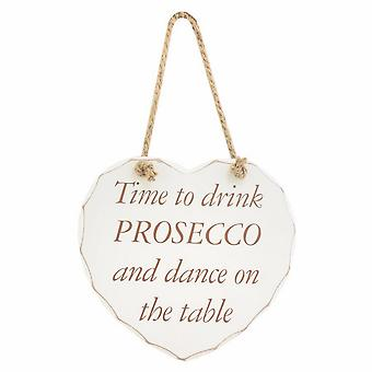 Heart Shaped Drink Prosecco Hanging Wall Plaque