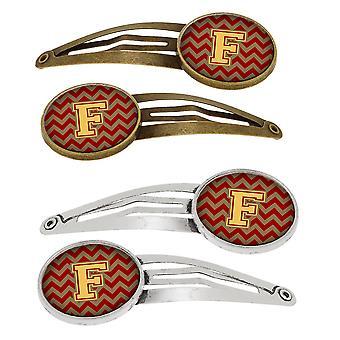 Letter F Chevron granaat en Gold Set van 4 haarspeldjes Hair Clips