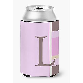 Letter L Initial Monogram - Pink Stripes Can or Bottle Beverage Insulator Hugger
