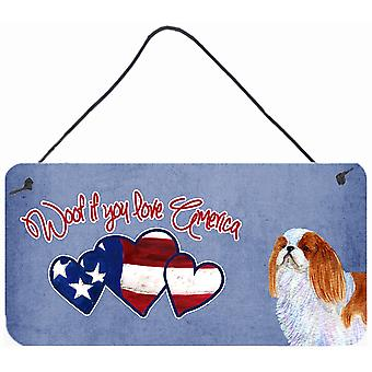 Woof if you love America English Toy Spaniel Wall or Door Hanging Prints