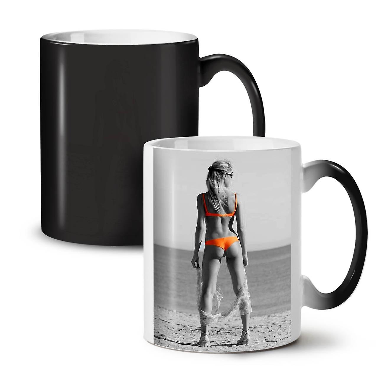 Nouveau Noir Sexy Couleur Bikini Tasse Fille Plage Changeant 11 Céramique Café Thé De OzWellcoda vIybY6g7fm