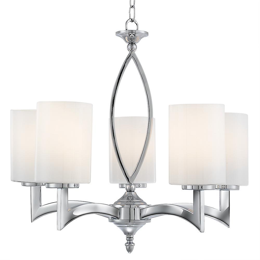 Searchlight 4995-5CC Gina 5 Light Chrome And White Glass Pendant
