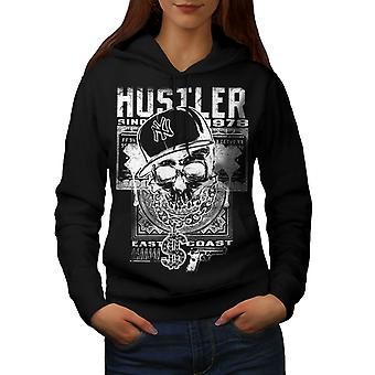 Hustler Skull Women BlackHoodie | Wellcoda