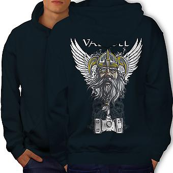 Valholl North War Men NavyHoodie Back | Wellcoda