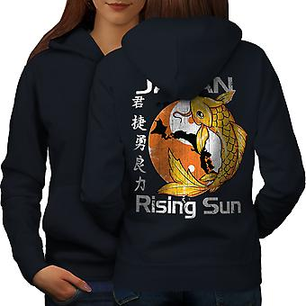 Rising Sun Japan Koi Women NavyHoodie Back | Wellcoda