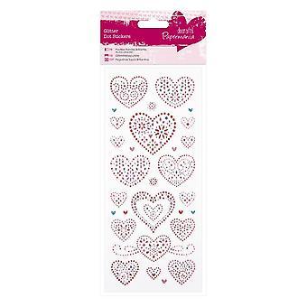 DoCrafts Glitter Dot Stickers Love Hearts