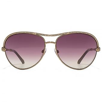 Roberto Cavalli Vega Pilot Sunglasses In Shiny Light Bronze