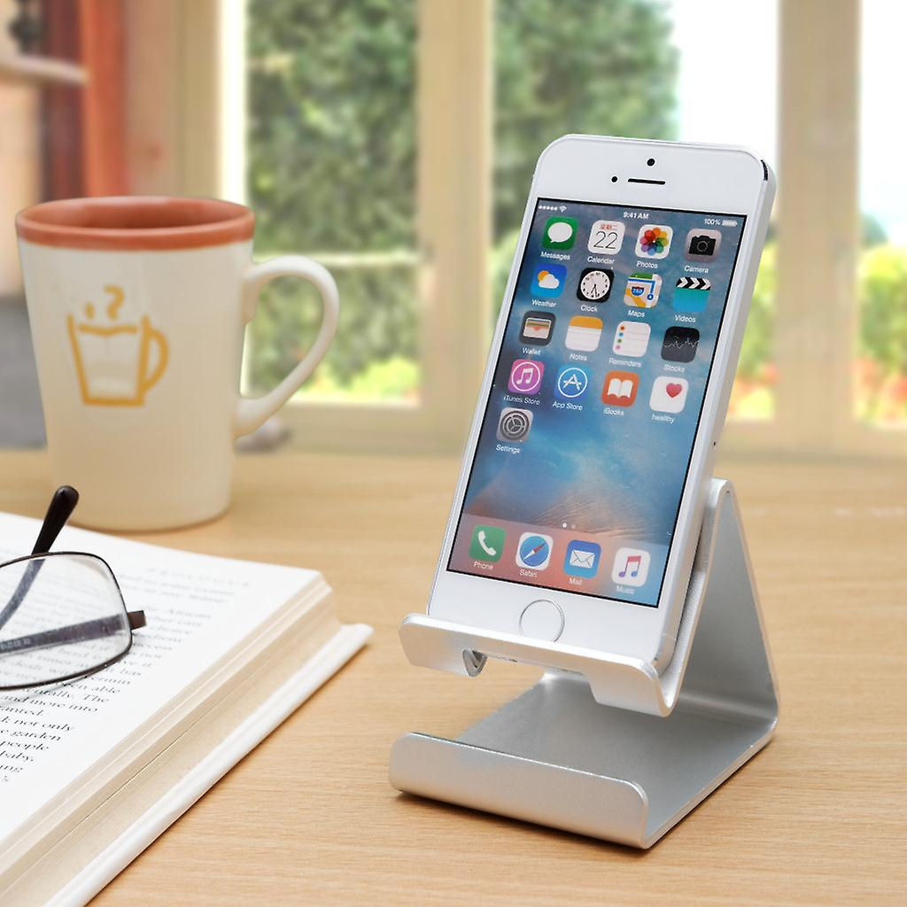 Premium Solid Aluminum Alloy Phone Holder for iPhone, Samsung, HTC, Sony, LG, Huawei and more! Smartphone Stand Desktop Mount Bedroom Mobile Phone Portable Cradle
