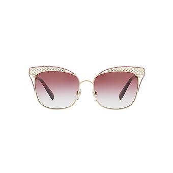 Valentino Metal Mesh Brow Detail Square Sunglasses In Light Gold Pink