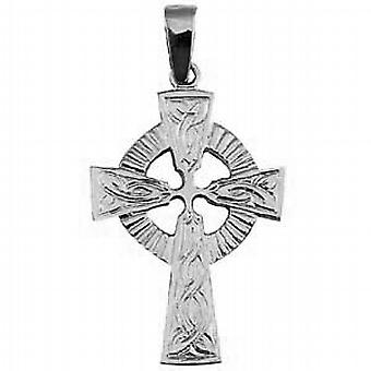 Silver 40x28mm embossed pattern Celtic Cross with bail