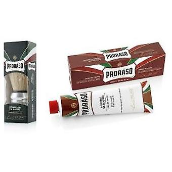 Proraso Sandalwood And Shea Butter Shaving Cream & Brush Set