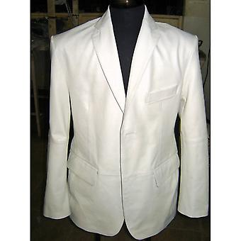 Mens Royale witte Lambskin Leather jas